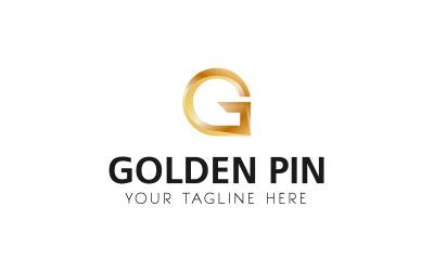 Modelo de logotipo de pino dourado