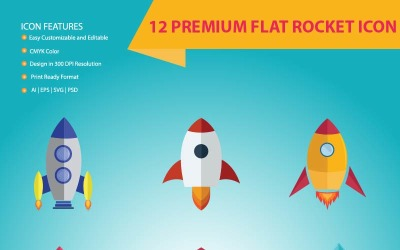 12 Premium Flat Rocket Icon Set