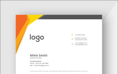 Orange Colour Letterhead - Corporate Identity Template
