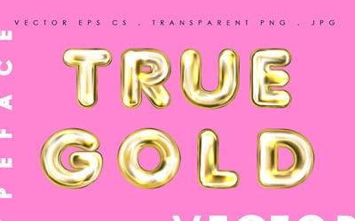 True Gold. Alphabet & Numerals Font