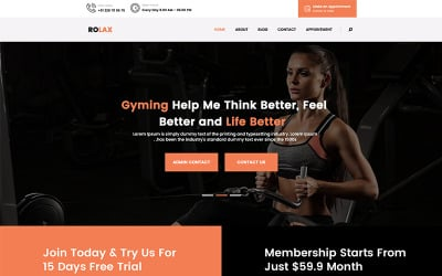 Rolax - Gym and Fitness PSD Template