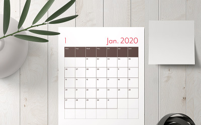 Calendar  Layout with Red Accents Planner