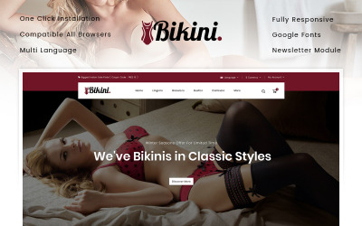 Bikini - Modello OpenCart del negozio di biancheria intima