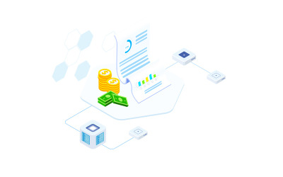 Financial Report on Blockchain Isometric 7 - FV - Illustration