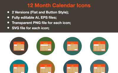 Premium - 12 Months Calendar Icon Set