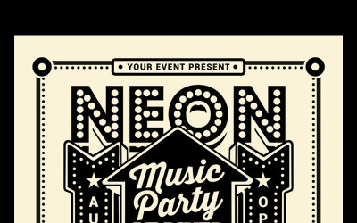 Vintage Neon Music Party - Corporate Identity Template