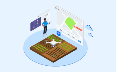 Automatic Watering with Drones Isometric 2 - T2 - Illustration