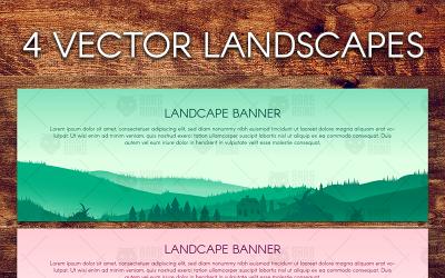 Panorama Landscapes Set - Illustration