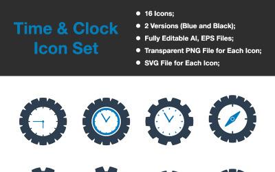 Time & Clock - Premium Vector Icon Set
