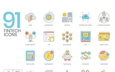 91 Fintech Icons - ColorLine Series Set