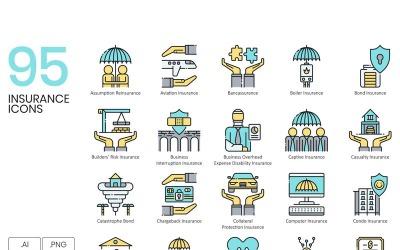 95 Insurance Icons - Aqua Series Set