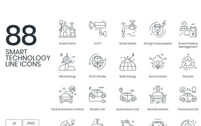 88 Smart Technology Line Icons Set