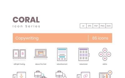 85 Copywriting Icons - Coral Series Set