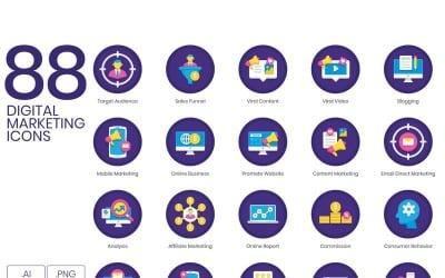 88 Digital Marketing Icons - Orchid Series Set