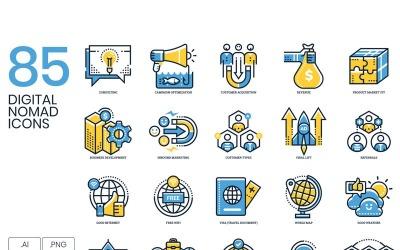 85 Digital Nomad Icons - Kinetic Series Set