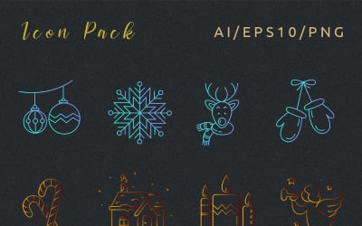 New Year's paints Icon Set