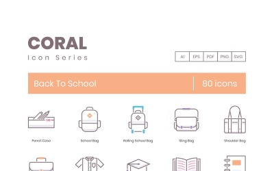 80 Back to School Icons - Coral Series Set