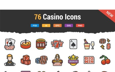 76 Casino Icons Set