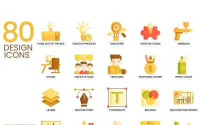 80 icônes du design - ensemble de la série caramel