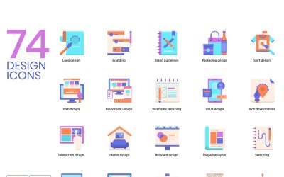 74 Design Icons - Violet Series Set