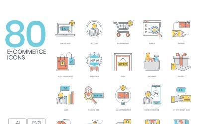 80 E-commerce Icons - Color Line Series Set