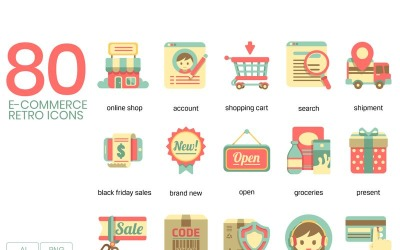 80 E-commerce Icons - Retro Series Set