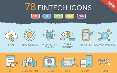 78 Fintech Icons Set