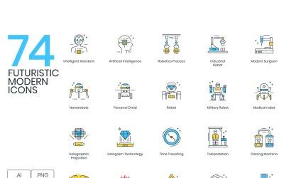 74 Futuristic Icons - ColorPop Series Set
