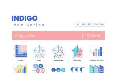 75 Infographic Icons - Indigo Series Set