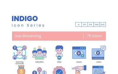 75 Live Streaming Icons - Indigo Series Set