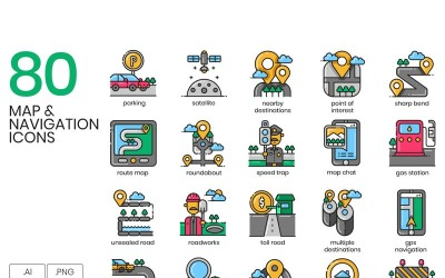 80 Map _ Navigation Icons - Aesthetic Series Set