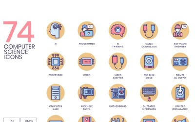74 Computer Science Icons - Butterscotch Series Set