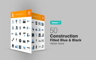 50 Construction Filled Blue & Black Icon Set