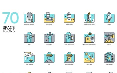 70 Space Icons - Aqua Series Set