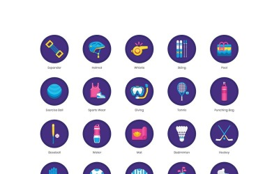 70 Sports Equipment Icons - Orchid Series Set