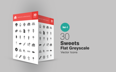 30 Sweets & Confectionery Flat Greyscale Icon Set