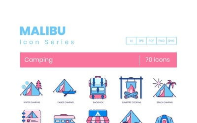70 Camping Icons - Malibu Series Set