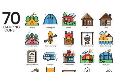 70 Camping Icons - Vivid Series Set