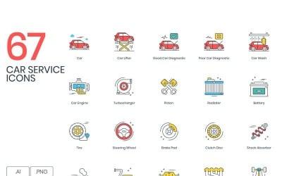 67 Car Service Icons - ColorPop Series Set