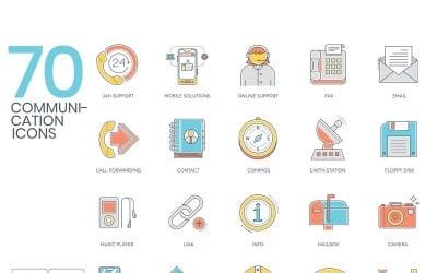 70 Communication Icons - Color Line Series Set