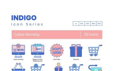 70 Cyber Monday Icons - Indigo Series Set