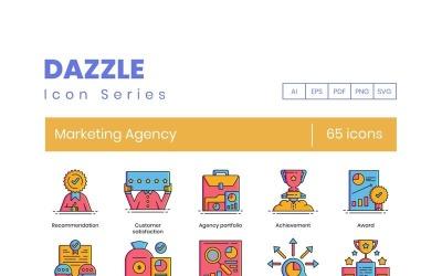 65 Marketing Agency Icons - Dazzle Series Set