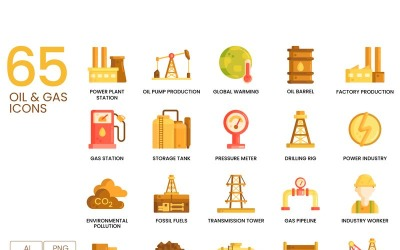 65 Oil _ Gas Icons - Caramel Series Set