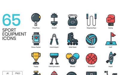 65 Sports Equipment Icons - Groovy Series Set