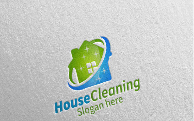 Cleaning Service with Eco Friendly 5 Logo Template