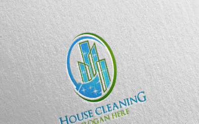 Cleaning Service with Eco Friendly 7 Logo Template