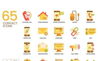 65 Contact Us Icons - Caramel Series Set