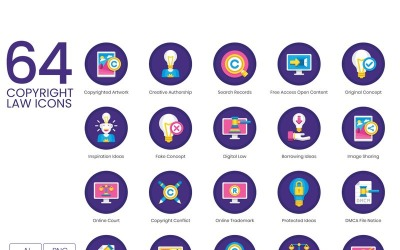 64 Copyright Law Icons - Orchid Series Set