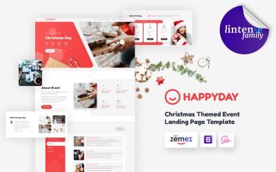 HappyDay - szablon strony docelowej wydarzenia o tematyce bożonarodzeniowej
