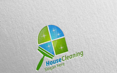 Cleaning Service with Eco Friendly 16 Logo Template